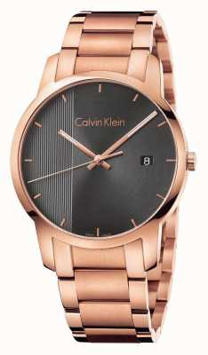 Calvin Klein Montre en or plaqué or en cuir Womans K2G2G643