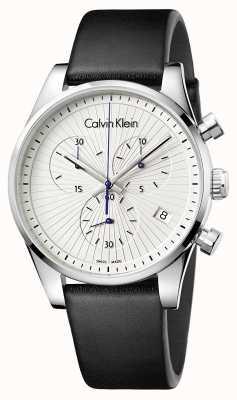Calvin Klein Unisexe inoxydable chronographe cuir noir K8S271C6