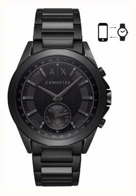 Armani Exchange Hommes hybride intelligent bracelet en fer plaqué cadran noir AXT1007