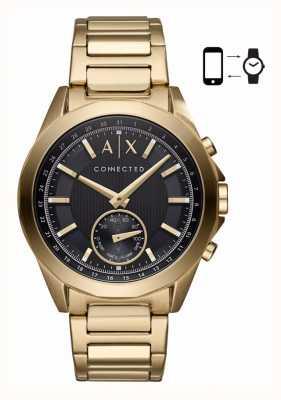 Armani Exchange Hommes hybride smartwatch bracelet en or bracelet noir cadran AXT1008