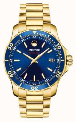 Movado Cadran bleu série 800 plaqué or 2600144