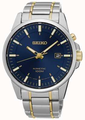 Seiko Bracelet cinétique bicolore pour homme, cadran bleu SKA757P1