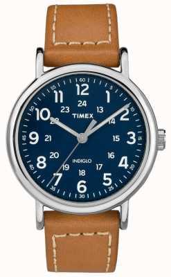 Timex Weekender homme cuir brun bracelet cadran bleu TW2R42500D7PF