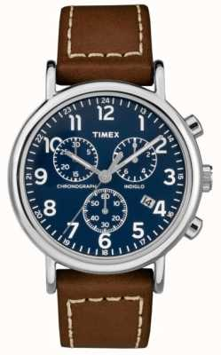 Timex Bracelet en cuir pour homme Weekender chronographe brun TW2R42600D7