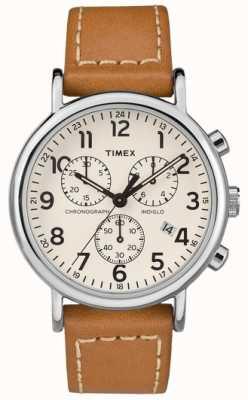 Timex Weekender chronographe pour homme en cuir marron TW2R42700D7PF