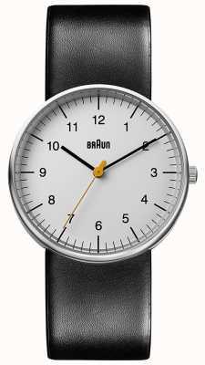 Braun Montre unisexe en cuir noir minimaliste BN0021BKG