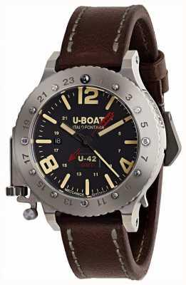 U-Boat Bracelet en cuir marron u-42 gmt 50mm en édition limitée 8095