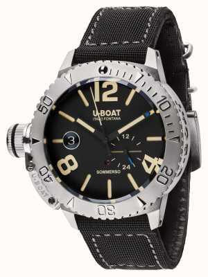 U-Boat Sommerso 46 bk bracelet en caoutchouc doublé de veau noir automatique 9007