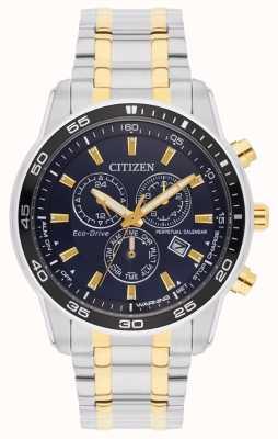 Citizen Eco-drive deux tons cadran noir bracelet homme BL5514-53L