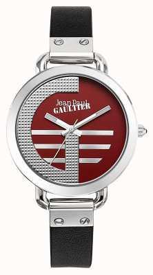Jean Paul Gaultier Womens index g bracelet en cuir noir cadran rouge JP8504320