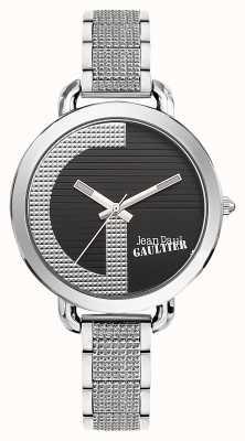 Jean Paul Gaultier Womens index g bracelet en acier inoxydable cadran noir JP8504318
