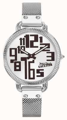 Jean Paul Gaultier Womens index maille en acier inoxydable cadran argent JP8504311