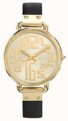 Jean Paul Gaultier Womens index bracelet en cuir noir cadran argenté JP8504307