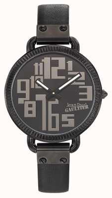 Jean Paul Gaultier Womens index bracelet en cuir noir cadran noir JP8504304