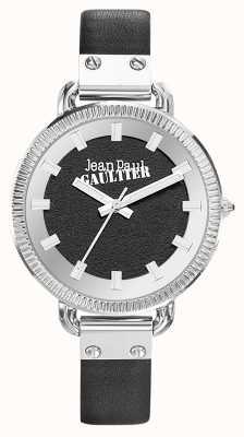 Jean Paul Gaultier Womens index bracelet en cuir noir cadran noir JP8504312