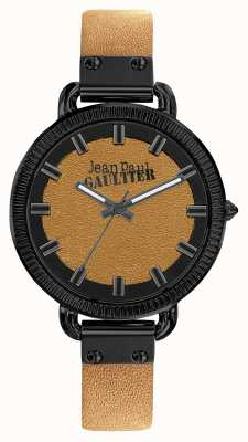 Jean Paul Gaultier Womens index bracelet en cuir marron cadran brun JP8504314