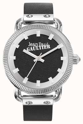 Jean Paul Gaultier Bracelet noir en cuir noir avec index pour homme JP8504407