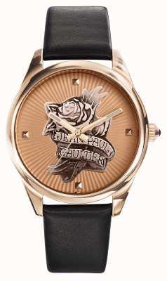 Jean Paul Gaultier Bracelet tatoo bleu marine en cuir et cadran en or rose JP8502411