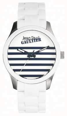 Jean Paul Gaultier Enfants terribles bracelet en caoutchouc blanc acier cadran blanc JP8501120