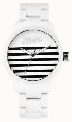Jean Paul Gaultier Enfants terribles bracelet en caoutchouc blanc acier cadran blanc JP8501101