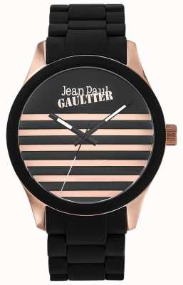 Jean Paul Gaultier Enfants terribles en caoutchouc noir bracelet en acier cadran noir JP8501122