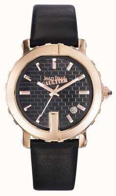 Jean Paul Gaultier Womens point g bracelet en cuir noir cadran noir JP8500516