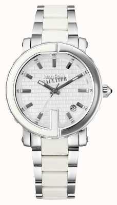 Jean Paul Gaultier Womens point g en acier inoxydable bracelet blanc cadran JP8500501