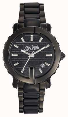 Jean Paul Gaultier Womens point g noir bracelet en acier inoxydable cadran noir JP8500514
