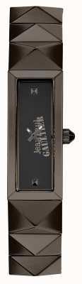Jean Paul Gaultier Womens mini punk gun metal bracelet cadran noir JP8504003