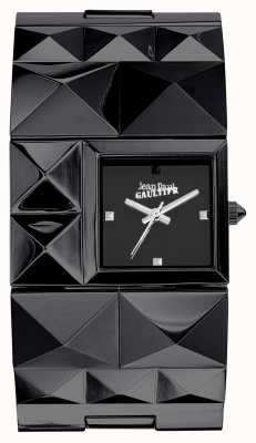 Jean Paul Gaultier Womens over punk noir bracelet pvd cadran noir JP8504503