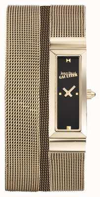 Jean Paul Gaultier Womens cote de maille or pvd maille bracelet cadran noir JP8503903