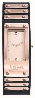 Jean Paul Gaultier Bracelet en cuir noir d'usine en or rose JP8503803