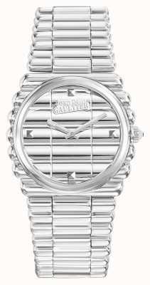 Jean Paul Gaultier Womens bord côte bracelet en acier inoxydable cadran argenté JP8504101