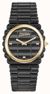 Jean Paul Gaultier Womens bord côte noir bracelet pvd cadran noir JP8504105