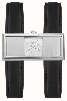 Jean Paul Gaultier Womens double jeu bracelet en cuir noir cadran argenté JP8505001