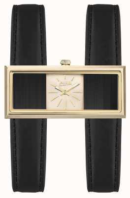 Jean Paul Gaultier Womens double jeu bracelet en cuir noir cadran doré JP8505003