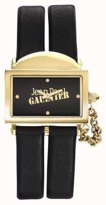 Jean Paul Gaultier Womens 325 bracelet en cuir noir cadran noir JP8501608