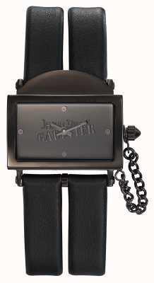 Jean Paul Gaultier Womens 325 bracelet en cuir noir cadran noir JP8501610