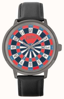 Jean Paul Gaultier Bracelet pour homme en cuir noir avec cadran rouge JP8504801