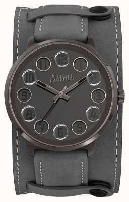 Jean Paul Gaultier Bracelet en cuir gris décroche gris cadran gris JP8504703