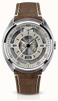 REC Porsche bracelet en cuir marron automatique cadran blanc P-901-02