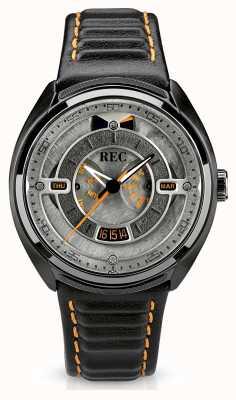 REC Porsche bracelet en cuir noir automatique cadran gris p-901-03