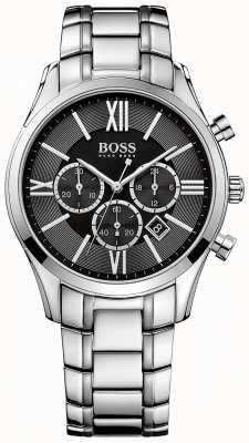 Hugo Boss Mens ambassador bracelet en acier inoxydable cadran noir 1513196