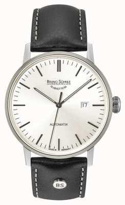 Bruno Sohnle Stuttgart gros automatique 44mm argent cadran montre en cuir noir 17-12173-247