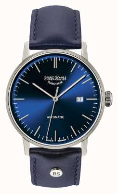 Bruno Sohnle Grande montre automatique en cuir bleu de Stuttgart de 44mm 17-12173-341