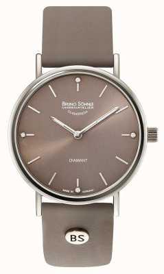 Bruno Sohnle Flamur ii Montre en cuir gris 35 mm 17-13124-891