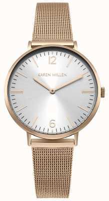 Karen Millen Bracelet en maille en acier inoxydable rose or Womens KM163RGM
