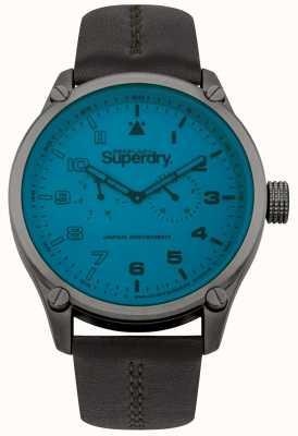 Superdry Montre bracelet en cuir cadran bleu homme SYG208UBR