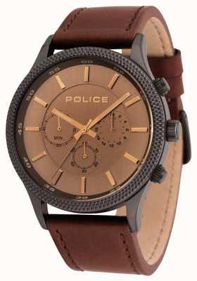 Police Montre chronographe en cuir marron pour homme 15002JSU/13