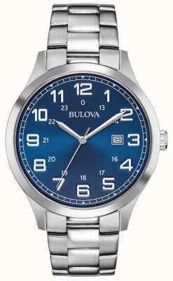 Bulova Montre habillée homme bleu bracelet en acier inoxydable 96B273
